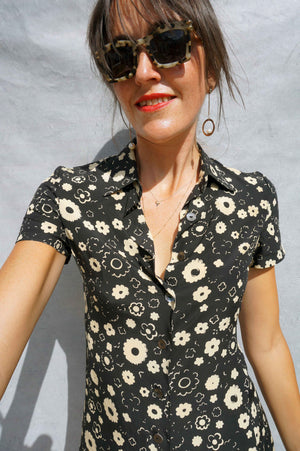 90s Silk Black Floral Max Mara Shirt Dress - Sustainable Fashion Brand UK - Ada's Attic Vintage - 4
