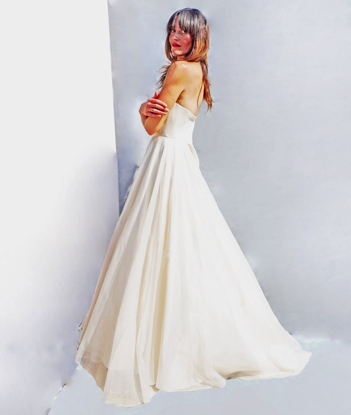 Vintage 90s Strapless Silk Ballgown Wedding Dress - Ada's Attic Vintage -