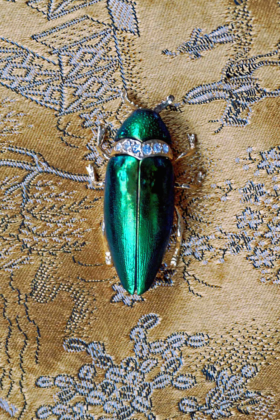 Vintage Iridescent Green Scarab Beetle Brooch, Green Beetle Pin Brooch Gift For Her - Ada's Attic Vintage-