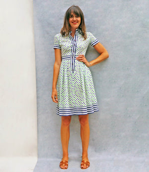 Vintage 70s Button Down Contrasting Print Dress - Ada's Attic Vintage - 4