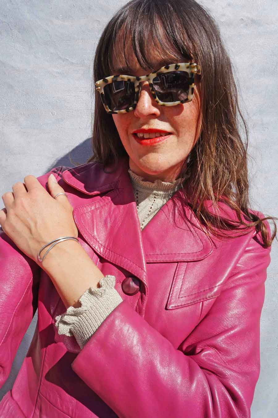 Vintage Pink Leather Trench Coat