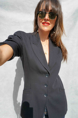 Vintage 1980s Short Sleeve Navy Escada Wool Blazer - Ada's Attic Vintage -6