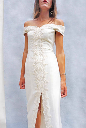 Vintage Simple Lace Bardot Wedding Dress - Ada's Attic Vintage - 4