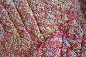 Antique 1910 Pink + Green French Paisley Boutis Quilt - Ada's Attic Vintage - 10