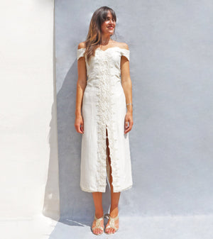 Vintage Simple Lace Bardot Wedding Dress - Ada's Attic Vintage - 1