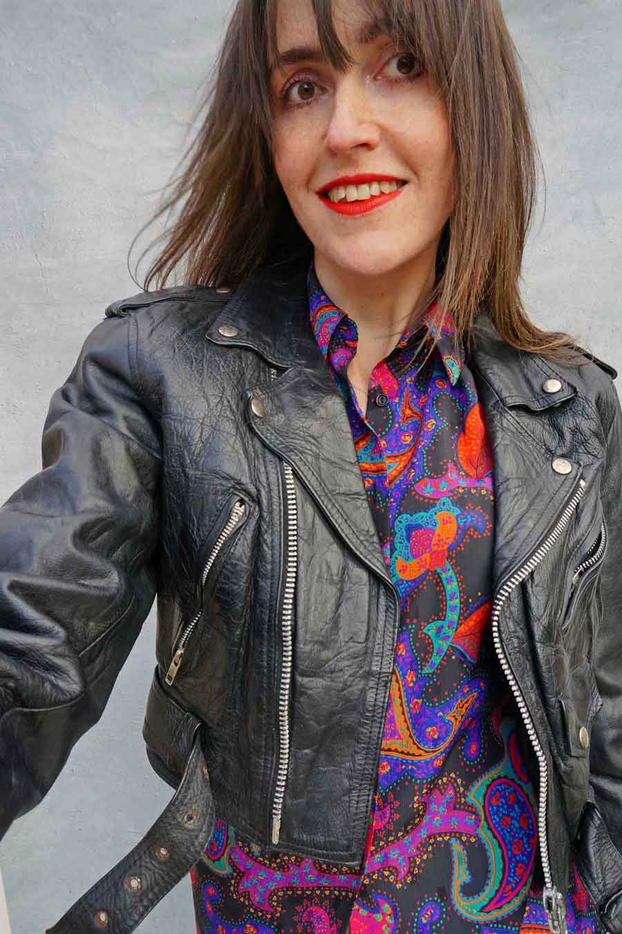 Vintage Black Leather Motorcycle Jacket - womens black leather jacket - ada's attic vintage