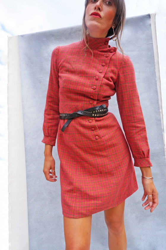 Vintage 60's Pink Wool Check Dress - Ada's Attic Vintage -
