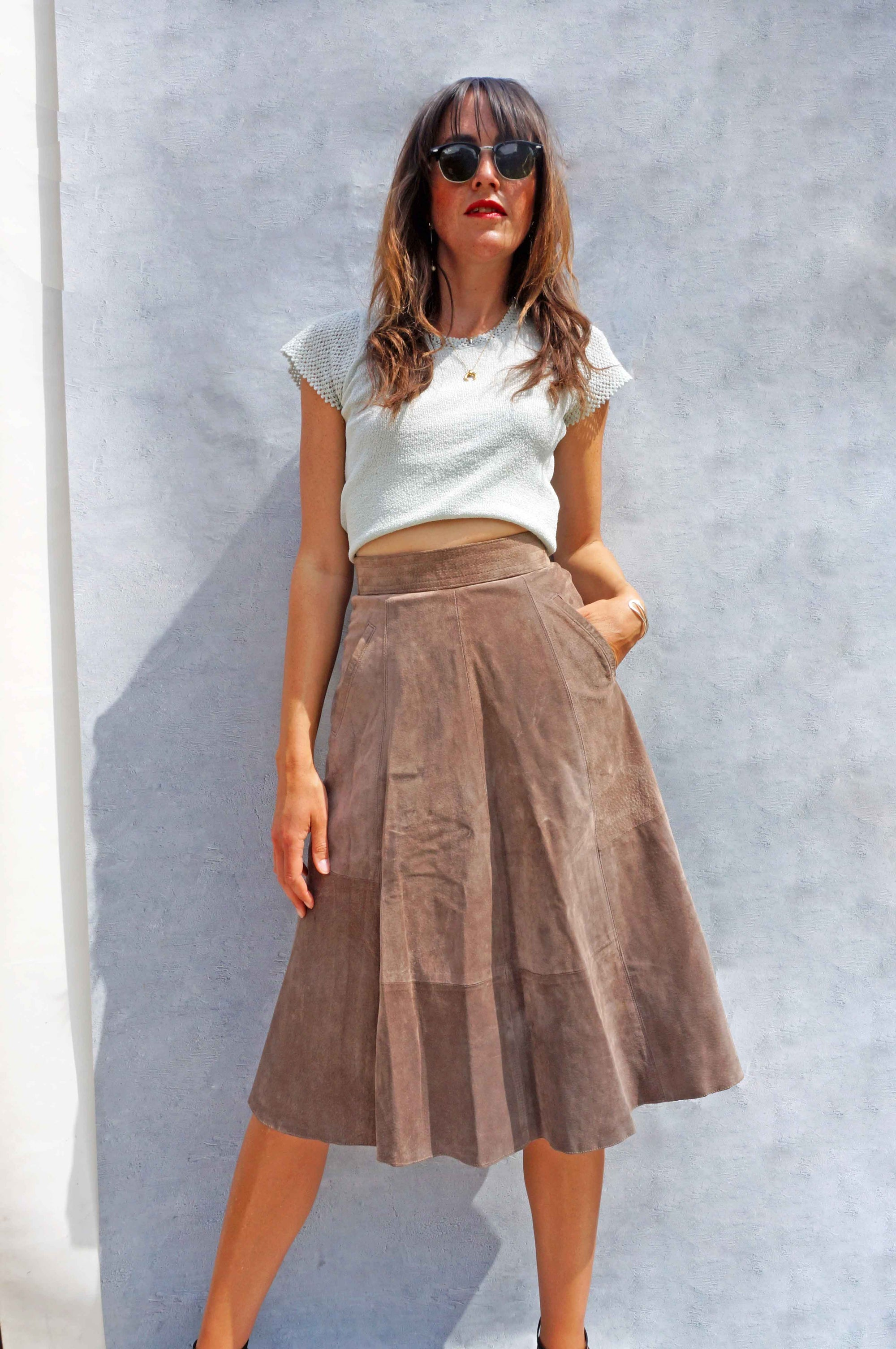 Vintage High Waisted Brown Suede Skirt - Ada's Attic Vintage - 8