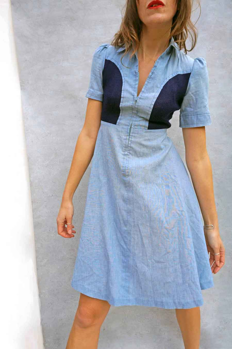 Vintage 70s Chambray Cotton Day Dress - vintage 70s dress - Ada's Attic Vintage