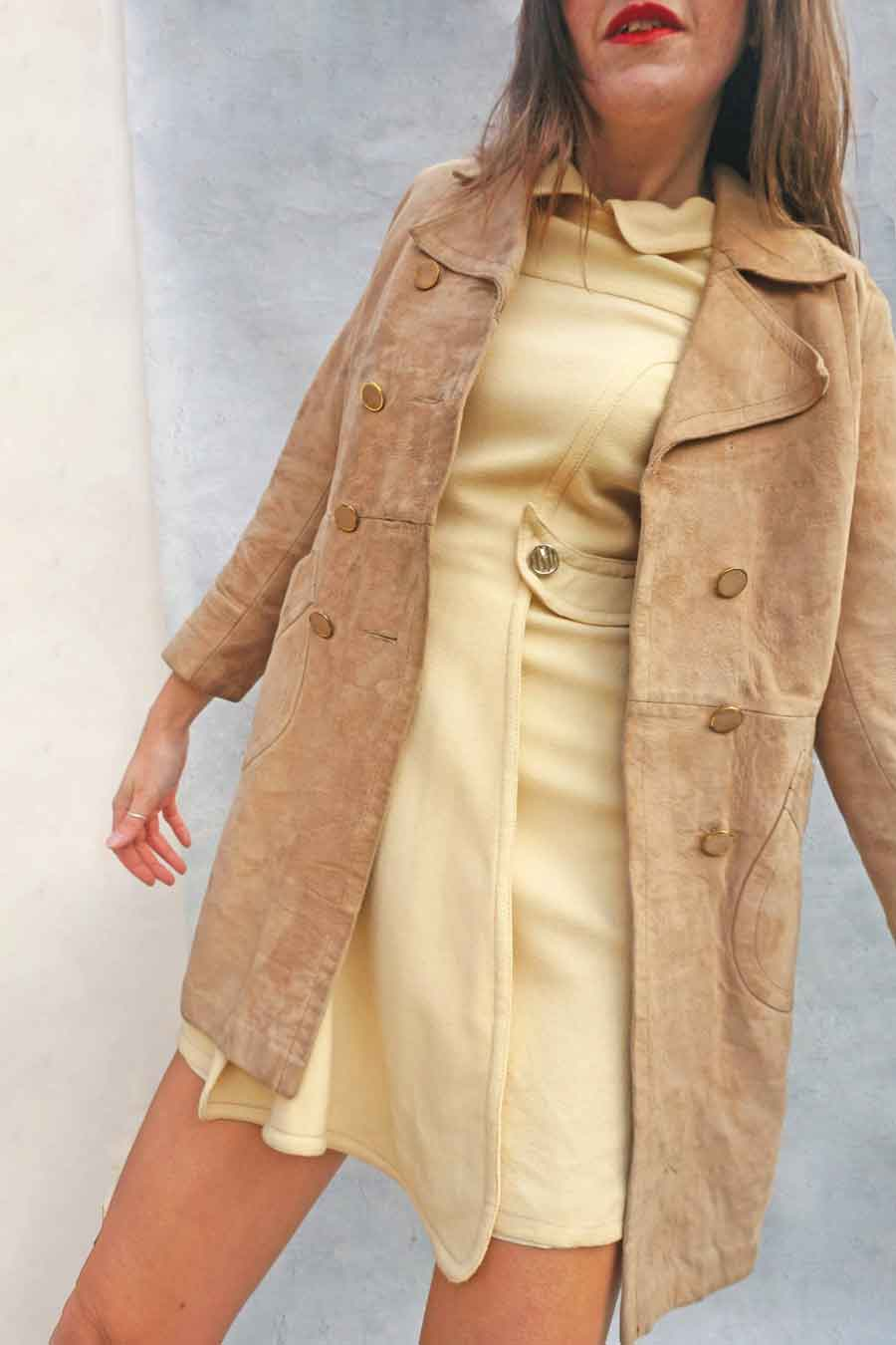 Vintage 60s Long Mod Beige Suede Leather Coat - Women's Suede Coat - Ada's Attic Vintage