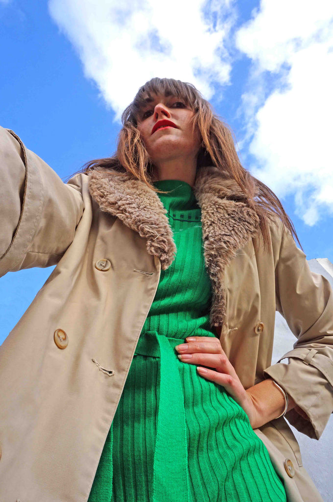 Vintage 80s Faux Fur Collar Trench Coat - Ada's Attic Vintage -