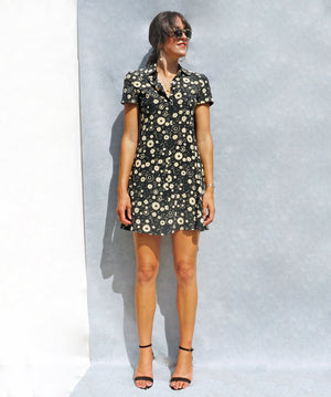 90s Silk Black Floral Max Mara Shirt Dress - Sustainable Fashion Brand UK - Ada's Attic Vintage - 5