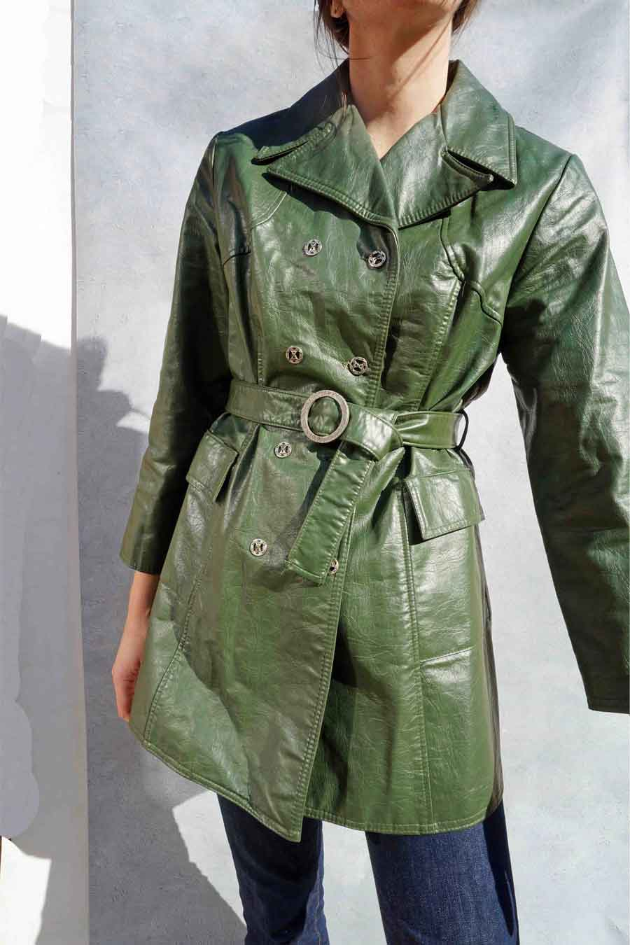 Vintage 60s Green Faux Leather Jacket - Vinyl Trench Coat - Ada's Attic Vintage