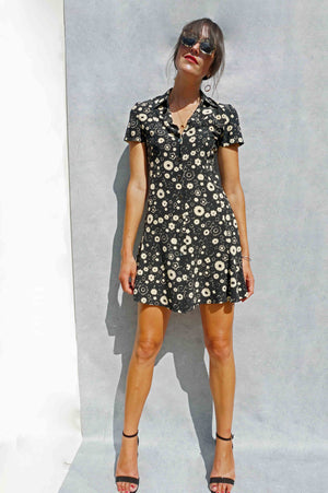 90s Silk Black Floral Max Mara Shirt Dress - Sustainable Fashion Brand UK - Ada's Attic Vintage - 6