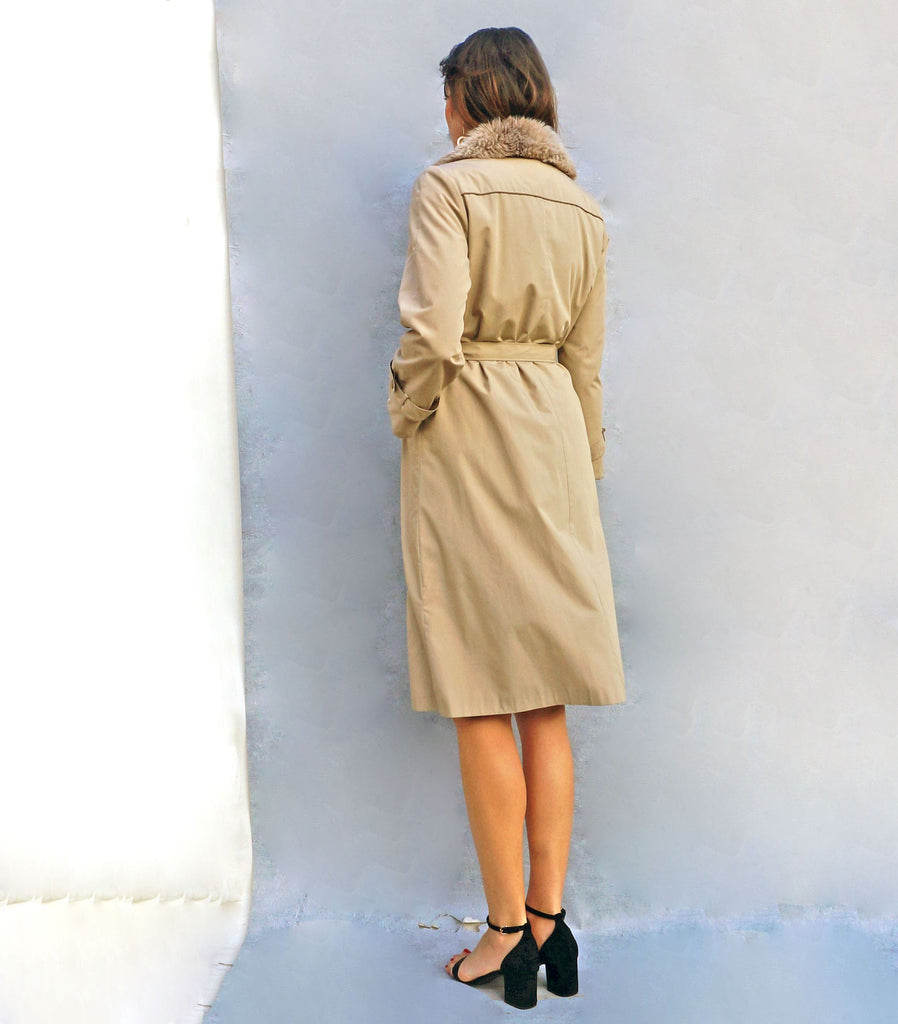 Vintage 80s Faux Fur Collar Trench Coat - Ada's Attic Vintage - 4