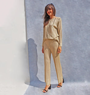 Gold Christian Dior Trouser Suit - Ada's Attic Vintage - 1