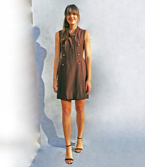 Vintage 1970's Brown Tunic Smart Work Dress - Ada's Attic Vintage - 8