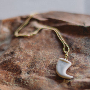 Porcelain Wolf Tooth Necklace