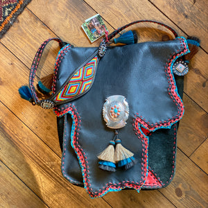 Large Cowhide Bag w/ Bead And Vintage Buckle