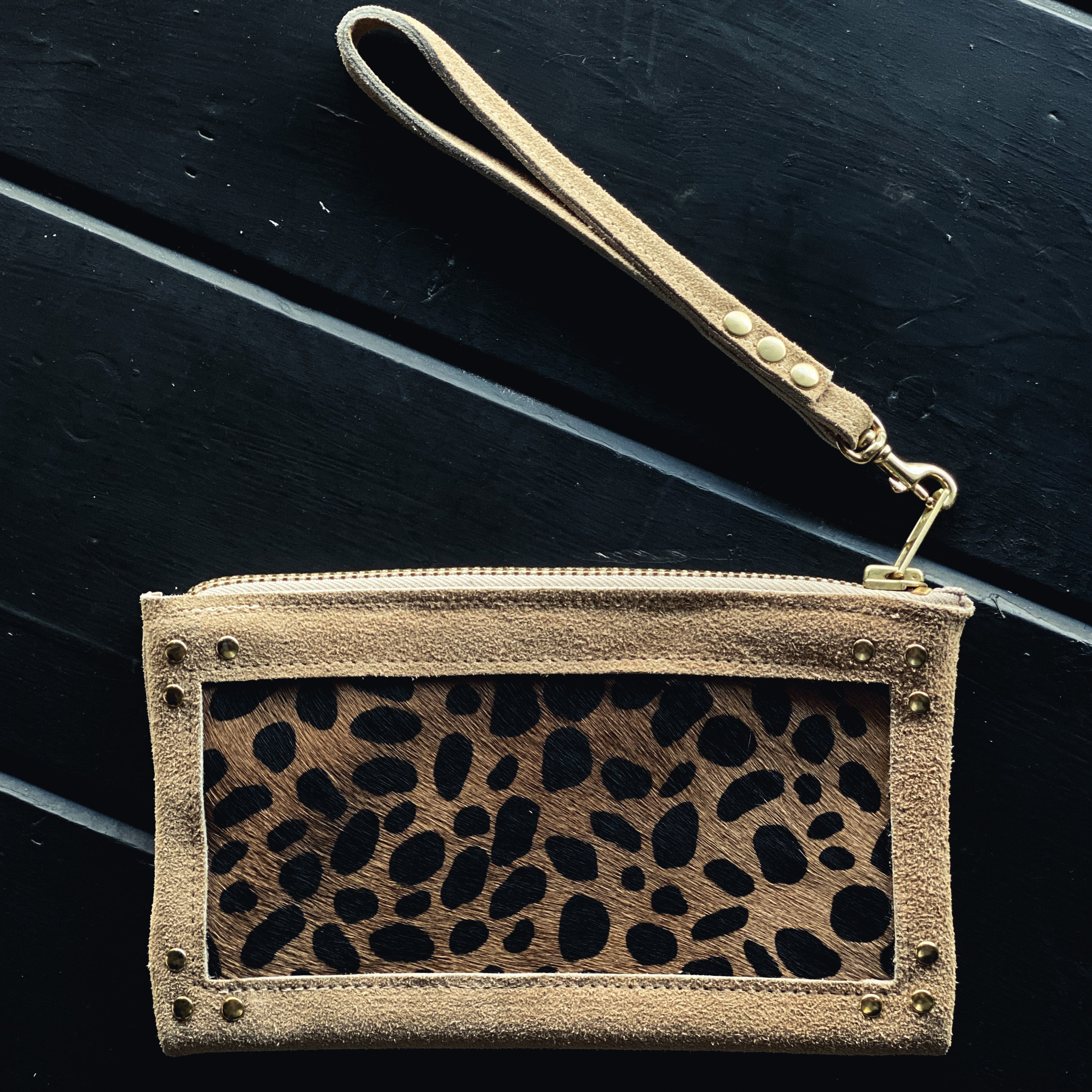Me + D Cheetah/Natural Zip Clutch