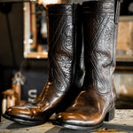 Vintage Lucchese Boots Dark Brown Tooled Shaft