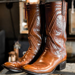 Vintage Lucchese Boots Saddle Tooled Shaft