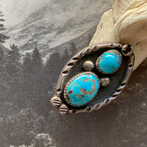 Vintage Sterling Double Turquoise Ring