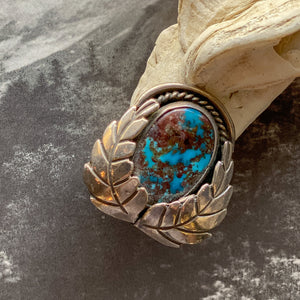 Vintage Sterling Double Leaf Turquoise Ring