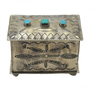 Stamped Box with Turquoise 3 Stones