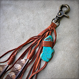Feather + Leather Clip Rust