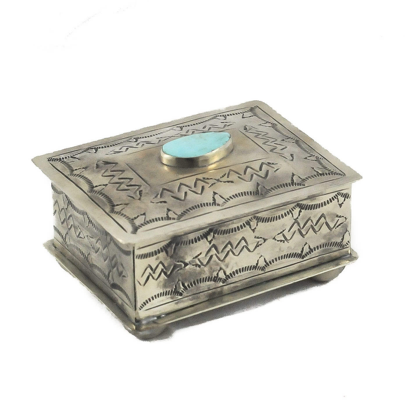 Small Stamped Box with Turquoise Nº1