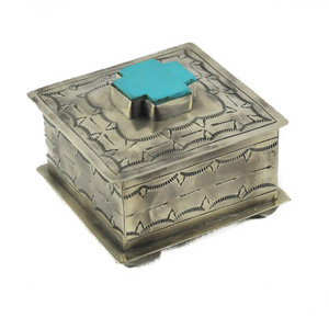 Square Stamped Box with Turquoise Cross