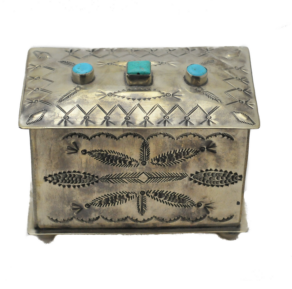 Stamped Box 3 Stone Turquoise