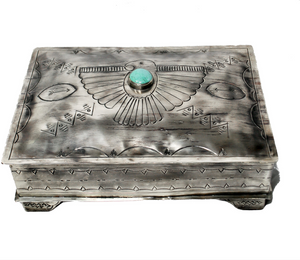 Stamped Box W/Thunderbird and Turquoise