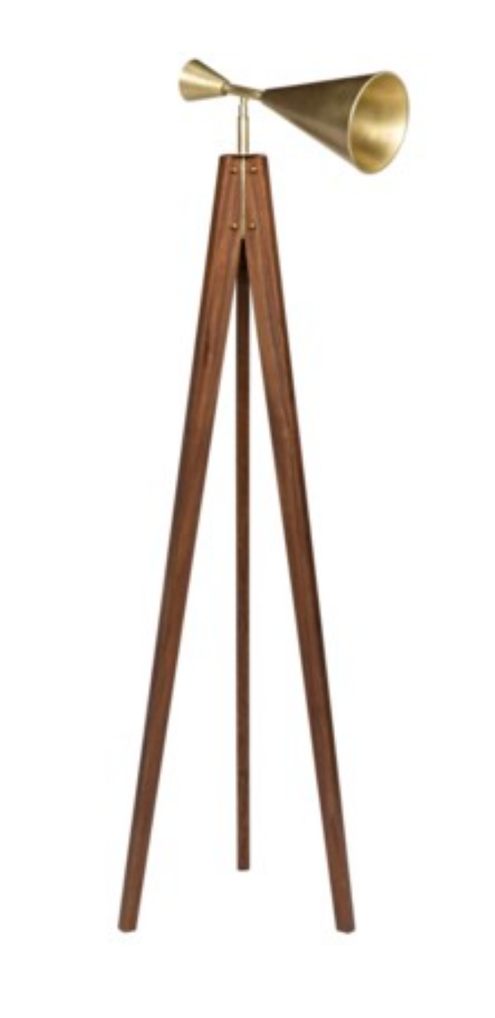 Walnut & Brass floor lamp