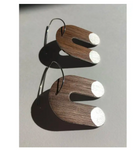 Walnut & Silver U shaped Earrings