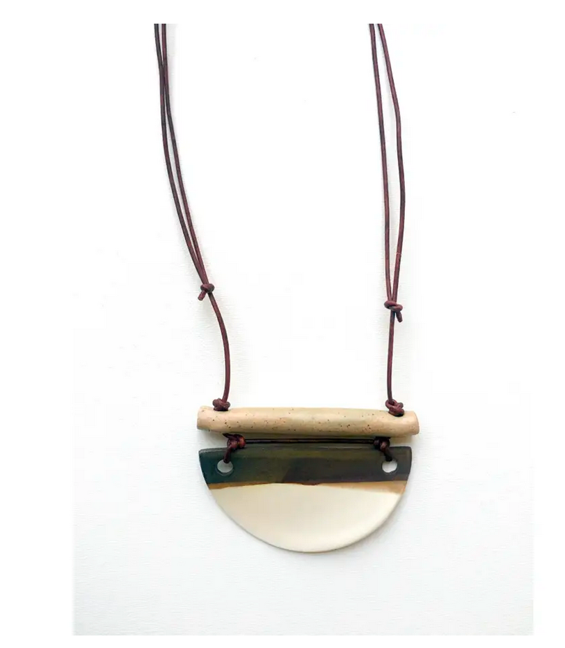 Stoneware Necklace Half Dome with Bar