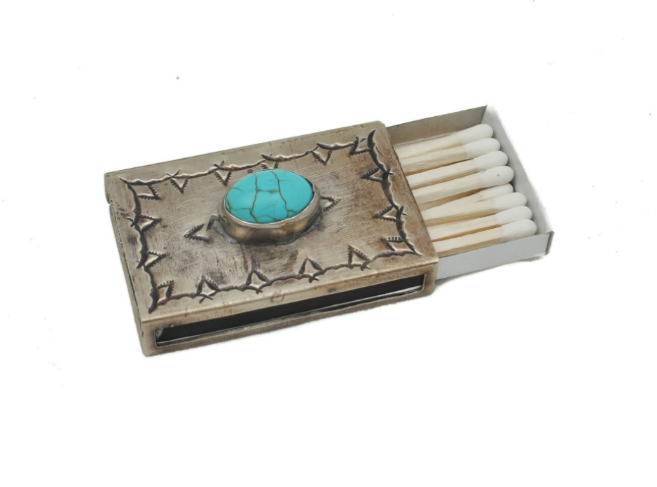 Small Stamped Matchbox w/Turquoise