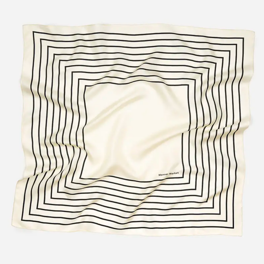 White Stripe Silk Scarf