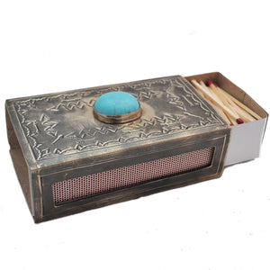 Stamped Matchbox W/Turquoise