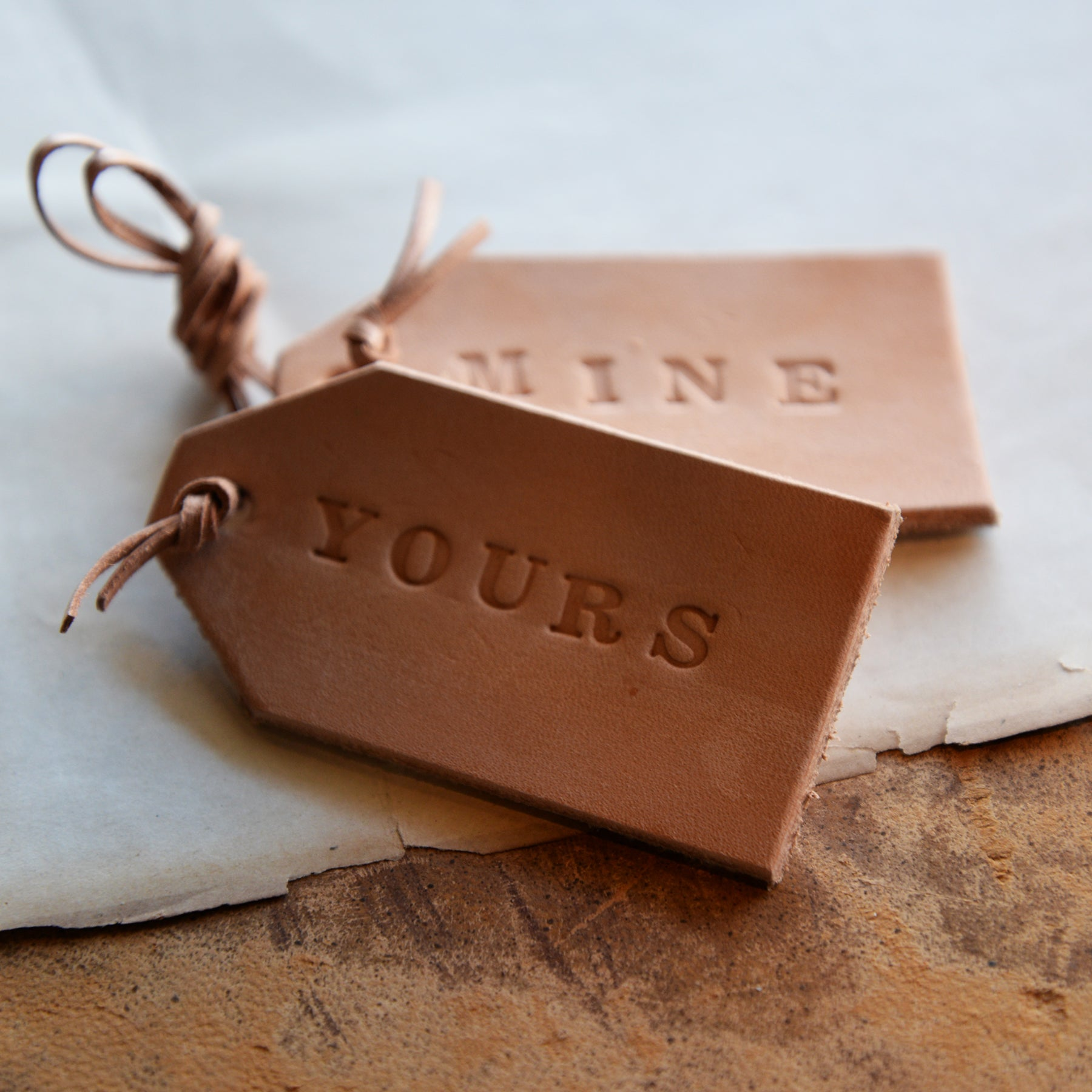 Hand Stamped Leather Luggage Tag Set