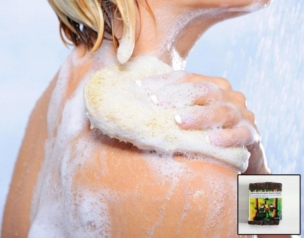 A lady bathing with soap