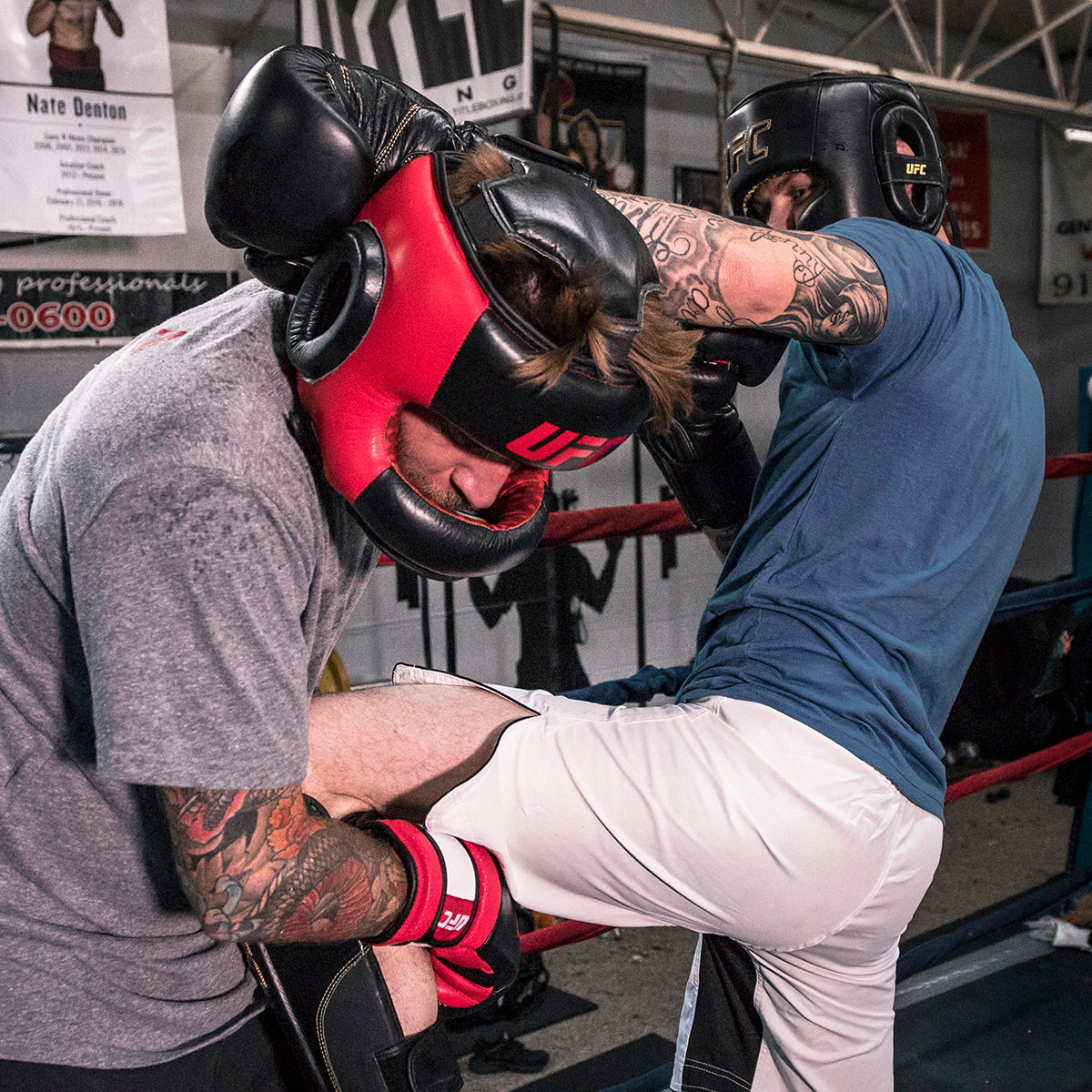 UFC Pro Full Face Headgear in action during training (front view)