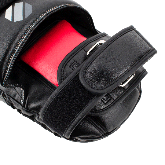 Secure D-ring and hook/loop strapping system to reduce shifting