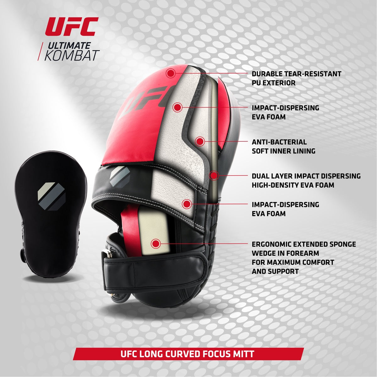 Cross section diagram of UFC Long Curved Focus Mitt including key features