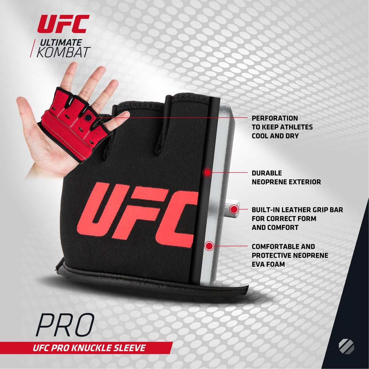 Cutaway image of UFC Pro Knuckle Sleeve with features listed