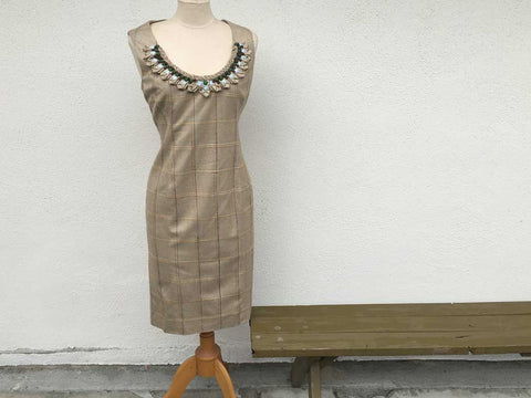 Carolina Herrera Tan Plaid Dress