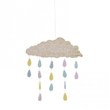Bloomingville Mini Wood Cloud Mobile