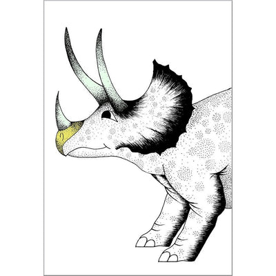Pouncing Triceratops Print - Wiggles Piggles  - 1