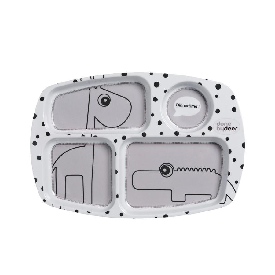 Done By Deer Happy Dots Compartment Plate Grey - Wiggles Piggles